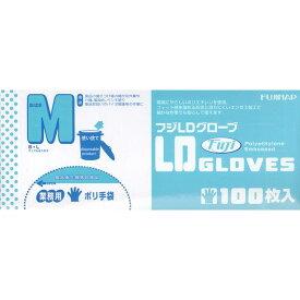 【送料無料】業務用ポリ手袋 フジLDグローブ ホワイト M 100枚 1ケース[4000枚:100枚入×40]