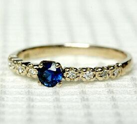 K18 18金 リング ブルー サファイヤ ダイヤモンド リング 9月の誕生石 サファイア