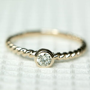 K18 18金 リング ダイヤモンド リング 0.15ct 一粒ダイヤ リング ダイアモンド ダイヤ リング ツイストアーム【文字入れ不可】