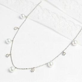 あこや真珠×ダイヤモンド ステーション ネックレス 真珠4.5mmアップ ダイヤモンド0.2ct K18 ゴールド