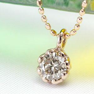 K18 シャンパンカラー ブラウンダイヤ ネックレス 0.2ct 一粒ダイヤ ネックレス ダイアモンド ダイヤモンドネックレス ダイヤ ネックレス <フラワーハートデザイン> スキンジュエリー