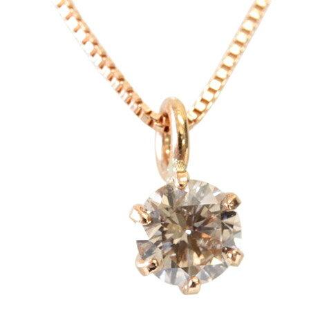 K18 シャンパンカラー ブラウンダイヤ ネックレス 0.2ct プラチナも選べます 一粒ダイヤ ダイアモンド ダイヤネックレス【あす楽対応】