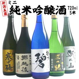 日本酒 純米吟醸 飲み比べセット 720ml×5本 新潟五蔵 純米吟醸酒(越乃碧、郷越後、三つ柏、寒中梅、朝日山)贈答品にもおすすめ 日本酒 新潟 純米吟醸 飲み比べ 送料無料 四合瓶 日本酒 お酒