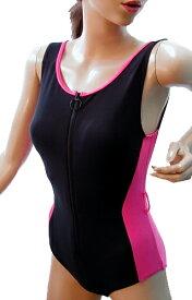 脱ぎ着の楽なフロントファスナー水着◆ピンク/サイズ:2L ◇ユニバーサルファッション12600