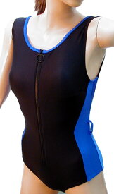 脱ぎ着の楽なフロントファスナー水着◆ロイヤルブルー/サイズ:2L ◇ユニバーサルファッション12600