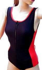 脱ぎ着の楽なフロントファスナー水着◆レッド/サイズ:3L(〜4L)大きいサイズ ◇ユニバーサルファッション13000