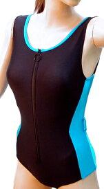 脱ぎ着の楽なフロントファスナー水着◆ターコイズブルー/サイズ:2L ◇ユニバーサルファッション