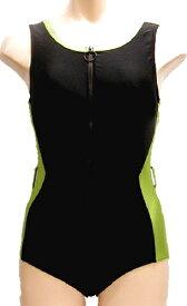 脱ぎ着の楽なフロントファスナー水着◆うぐいす/サイズ:2L ◇ユニバーサルファッション