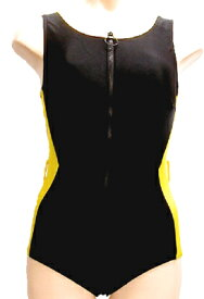 脱ぎ着の楽なフロントファスナー水着◆レモンイエロー/サイズ:3L ◇ユニバーサルファッション