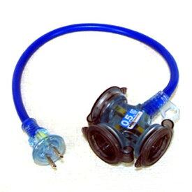 ハタヤ 防雨型2Pショートタップ 0.5m ブルー 3703193【smtb-s】