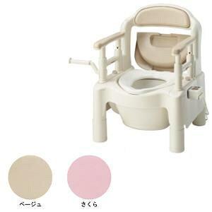 アロン化成 ポータブルトイレFX-CP 暖房・快適脱臭 キャスター付 さくら色