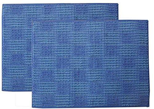イケヒコ・コーポレーション バスマット 洗える 吸水 マイクロファイバー 『さらり美人2』 ブルー 2枚組 約35×50cm【smtb-s】