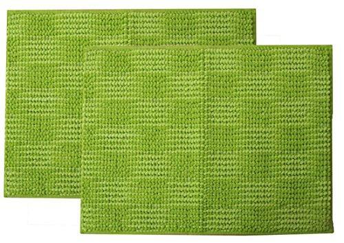 イケヒコ・コーポレーション バスマット 洗える 吸水 マイクロファイバー 『さらり美人2』 グリーン 2枚組 約35×50cm【smtb-s】