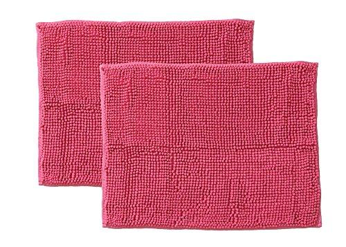 イケヒコ・コーポレーション バスマット 洗える 吸水 マイクロファイバー 『さらり美人2』 ピンク 2枚組 約45×60cm【smtb-s】