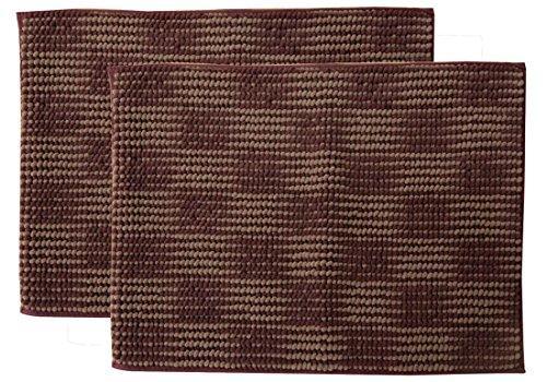 イケヒコ・コーポレーション バスマット 洗える 吸水 マイクロファイバー 『さらり美人2』 ブラウン 2枚組 約35×50cm【smtb-s】