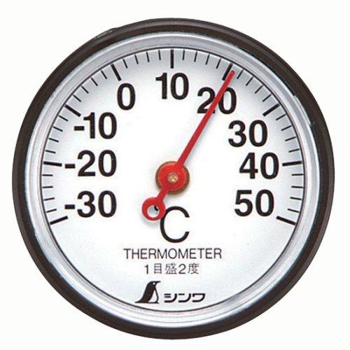 シンワ測定 温度計 72675 S-5 丸型3.5cm 両面テープ付き