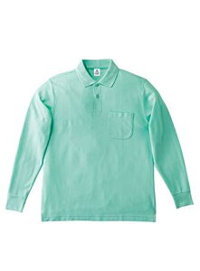 COTTON STAFF(コットンスタッフ) COTTON STAFF ポケット付CVC鹿の子ドライ長袖ポロシャツ MS3115 27 ミントグリーン 4L