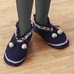 コモライフ すべりにくい手編みルームシューズネイビーL (0218981)