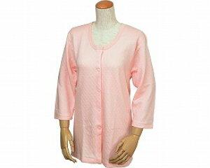 ウエル 婦人用 キルト八分袖前開きシャツ(ワンタッチテープ式) W461 LL / ピーチ