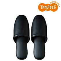 オリジナル TANOSEE 最高級レザー調スリッパ ブラック(DATM016BK)【smtb-s】