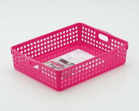 イノマタ化学 ストックバスケット/収納ボックス/整理カゴ(A4) ローズピンク サイズ:26.4×35.3×高さ8.1cm