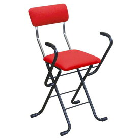 ルネセイコウ(Runeseikou) ルネセイコウ 日本製 折りたたみ椅子 フォールディング Jメッシュアームチェア レッド/ブラック MSA-49 (1344478)【smtb-s】