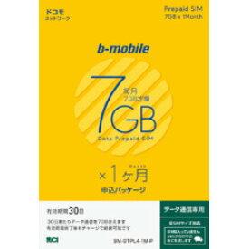 日本通信 b-mobile 7GB×1ヶ月SIM(DC)申込パッケージ(BM-GTPL4-1M-P)
