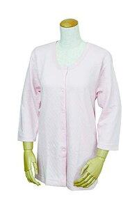 ウエル キルト八分袖前開きシャツ(プラスチックホック式)(W471 婦人用 ピーチ LL)【smtb-s】