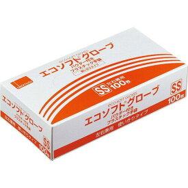 オカモト エコソフトグローブ プラスチック手袋 パウダー付 SS 半透明 OM-320-SS 1箱(100枚)【smtb-s】