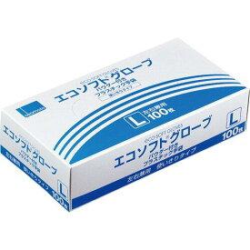オカモト エコソフトグローブ プラスチック手袋 パウダー付 L 半透明 OM-320-L 1箱(100枚)【smtb-s】