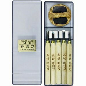 本喜秀 彫刻刀セット 5本組 砥石バレン付 51-B5