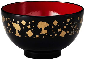 金正陶器(Kaneshotouki) 「 PEANUTS(ピーナッツ) 」 スヌーピー 和食器 筆唐草 塗 汁椀 直径10.5cm ブラック 611516