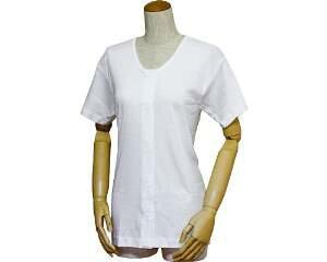 ウエル 婦人前開きシャツ (ワンタッチテープ式) 三分袖 LL 43253 白