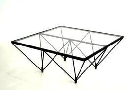 ルネセイコウ ガラステーブル FT-35 クリアガラス/ブラック [W80 X D80 X H35cm]【smtb-s】