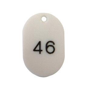 番号札 小判型・スチロール製 番号入(連番) CR-BG31-W 白 【ECJ】