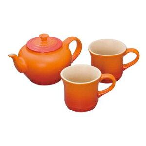 ル・クルーゼ ティーポット&マグ(SS)(2個入)セット 910296 オレンジ【 ブランドキッチンコレクション 】 【ECJ】