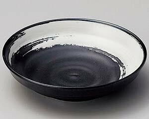 和食器 ユ223-227 黒マット白刷毛3.0深皿 【ECJ】