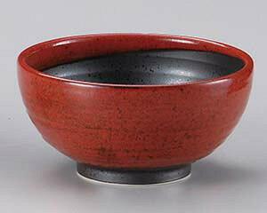 和食器 キ337-147 赤柚子八重がけ砂目5.0丸丼 【ECJ】