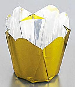 『アルミケース 焼型 お菓子作り』アルミケースチューリップ型[100枚入] ゴールド 50号 【ECJ】