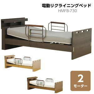 電動リクライニングベッド 2モーター ベッド シングル シングルベッド フレームのみ リクライニング 手すり付き 電動 コンセント付き 高さ調節 LED照明 北欧 モダン通販 送料無料