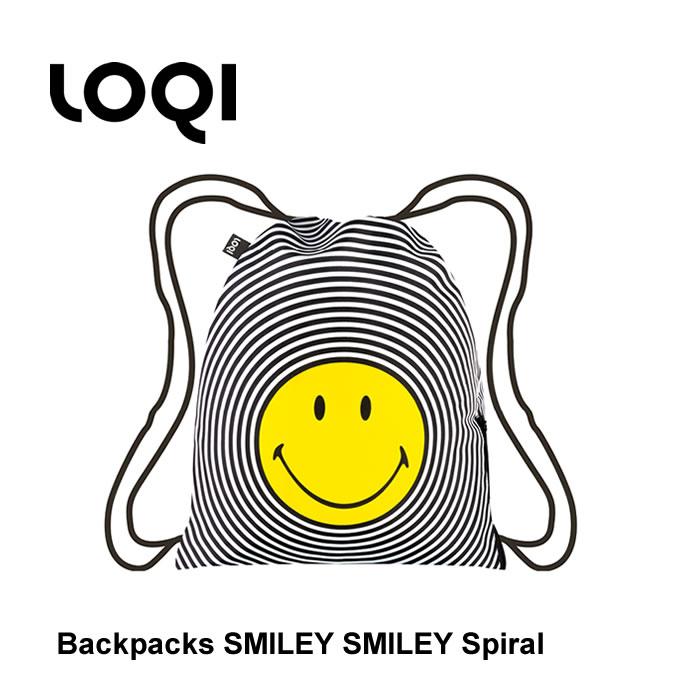 LOQI ローキー バックパック SMILEY Spiral BP.SM.SP / リュックサック ナップサック デザイン ドイツ バック 巾着 軽量 旅行 マザーズバッグ レインバッグ ジムバッグ シューズバッグ レディース スマイリー ニコちゃん スマイル