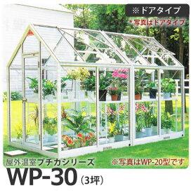 屋外温室 プチカ WP-30 (3坪) ドアタイプ・ガラス仕様 広め スペースのある方に ■直送■