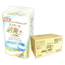 エリエール 消臭+ トイレットティシュー しっかり香る フレッシュクリアの香り 25m ダブル 72ロール(12ロール×6パック)【大王製紙】【723910】