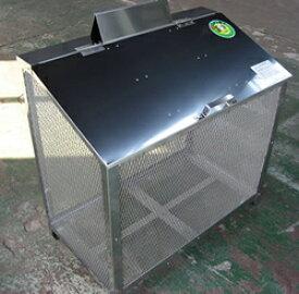 ステンレス光 ゴミステーション 大型ゴミ箱 エリア限定送料無料 【完成品】ステンレス製ゴミ収納BOX ワンニャンカア (ステンレスSUS304使用)奥行50cmタイプ B-90 幅900×奥行500×高さ850mm