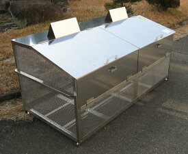 ステンレス光 ゴミステーション 大型ゴミ箱 エリア限定送料無料 ステンレス製ゴミ収納BOX ワンニャンカア (ステンレスNSSCF FW2使用)大型タイプ GH-180N 幅1800×奥行900×高さ850mm ※受注生産