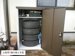 グリーンライフ物置扉式タイヤ収納庫TBT-132MBR幅800×奥行750×高さ1320mm※お客様組立品