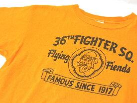 【中古】THE REAL McCOY リアルマッコイ S/S プリント Tシャツ オレンジ サイズM(38-40) 36th FIGHTER SQ