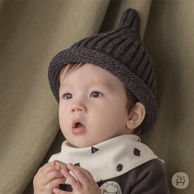 df18ca852bd0d ニット帽 帽子 とんがり帽子 ブラック グレー ベージュ カーキ happy prince ベビー baby KIDS キッズ 子供