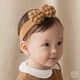 fee4da4d3b794 ヘアバンドリボン ニット HAPPY PRINCE ヘッドアクセサリー ベビー ピンク ブラウン baby KIDS キッズ 子供服