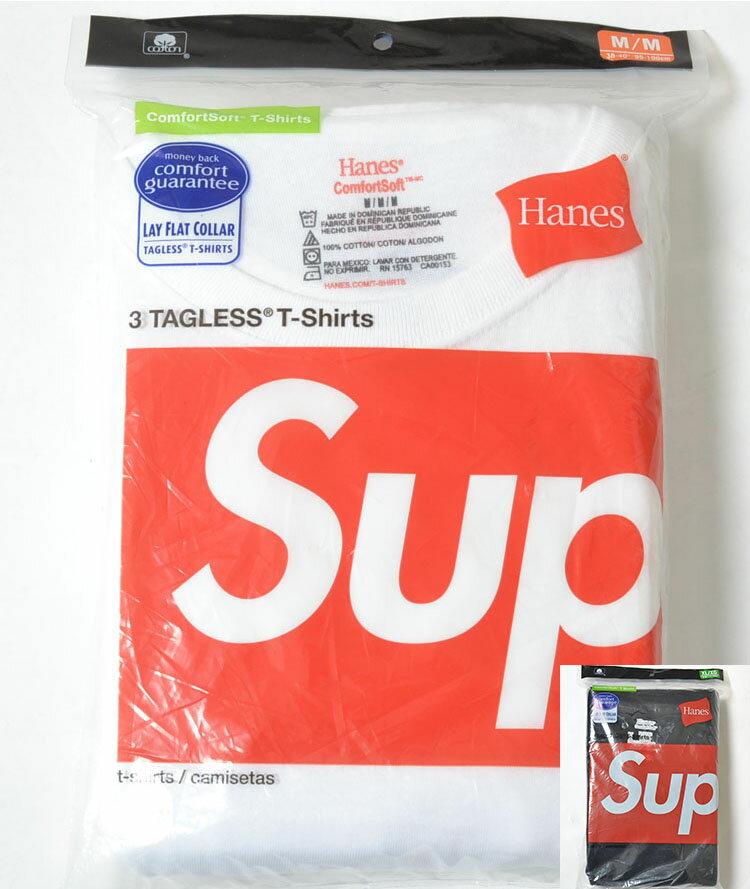 SUPREME/Hanes Tagless Tees(3Pack) シュプリーム x へインズ Tシャツ 3枚入り 全2色